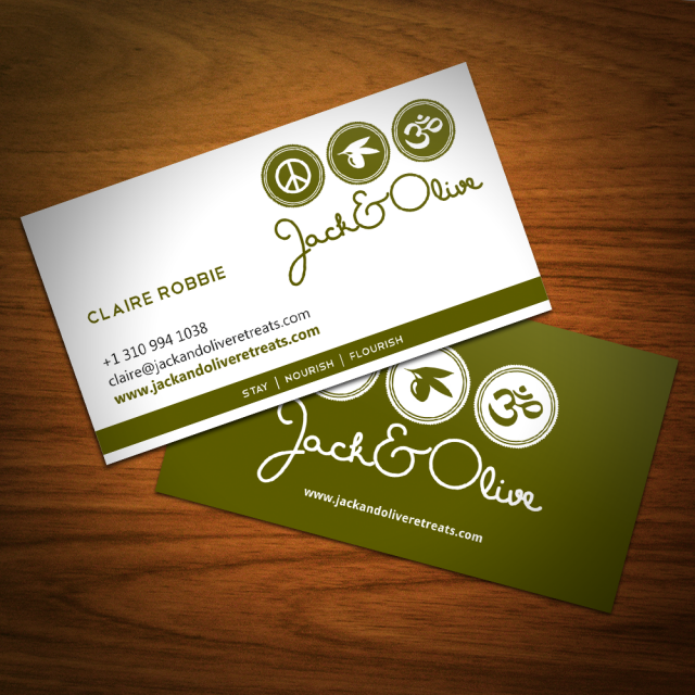 Jack&Olive Retreats business card