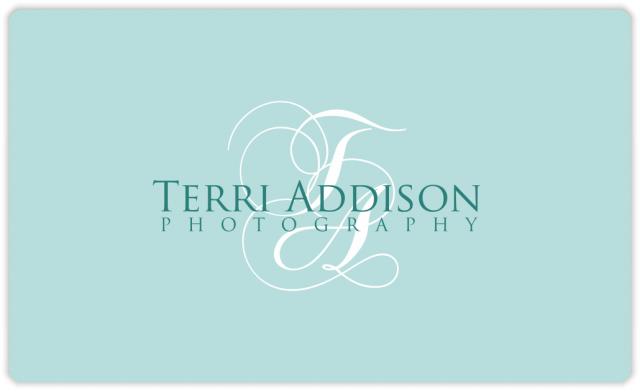 Terri Addison initials logo reversed colors